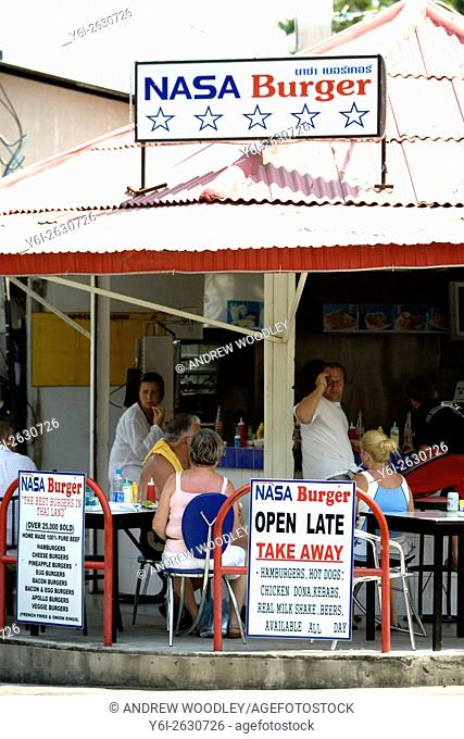 Open air road side burger fries stand NASA Burgers Phuket Thailand