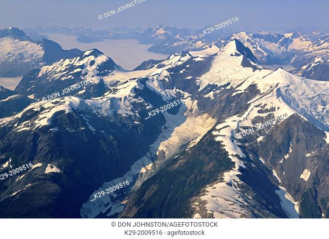 Coastal range mountains with snow and ice fields, Vancouver to Chilko Lake, British Columbia, Canada