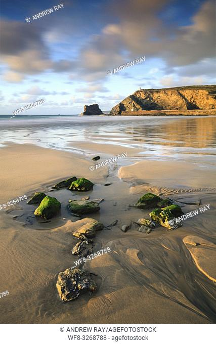The beach at Portreath on the North Coast of Cornwall, captured at low tide on an evening in late May