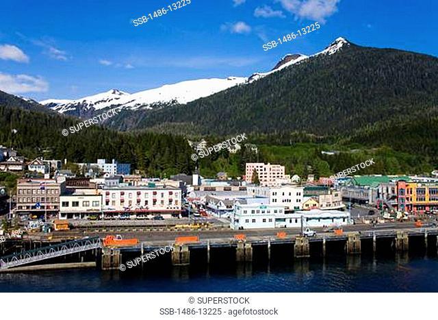 High angle view of a city, Ketchikan, Alaska, USA