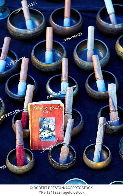 India - Goa - Anjuna Market - display of Tibetan singing bowls