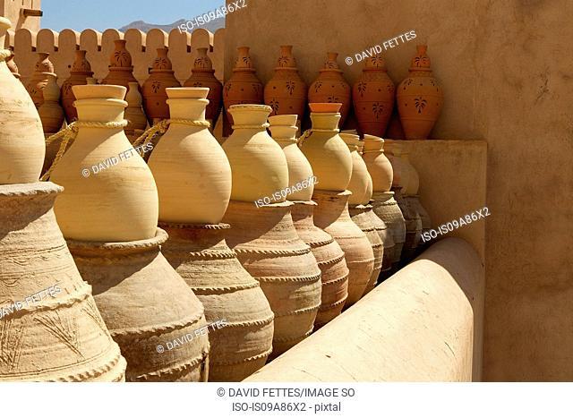 Terracotta pots in Nizwa Castle, Nizwa, Oman