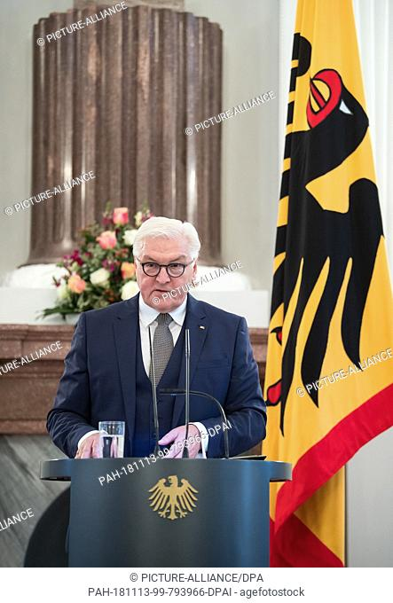 13 November 2018, Berlin: Federal President Frank-Walter Steinmeier speaks at the award ceremony of the Grand Cross of Merit with Star and Shoulder Ribbon of...