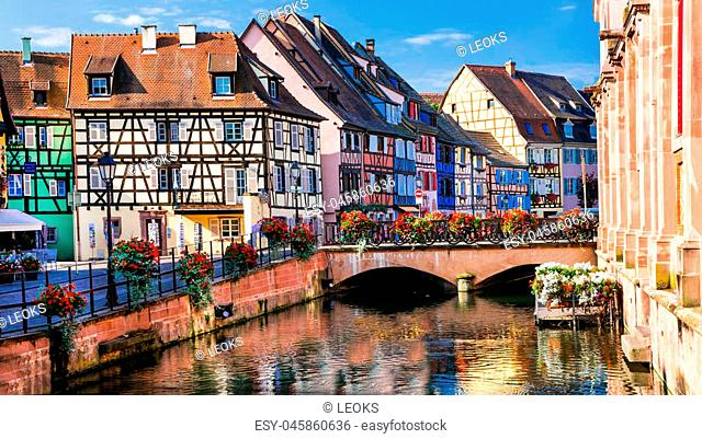 Panoramic view with traditional houses and flowers,Colmar,France
