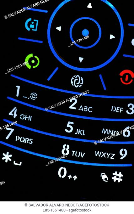 Detail of the keyboard of a mobile phone