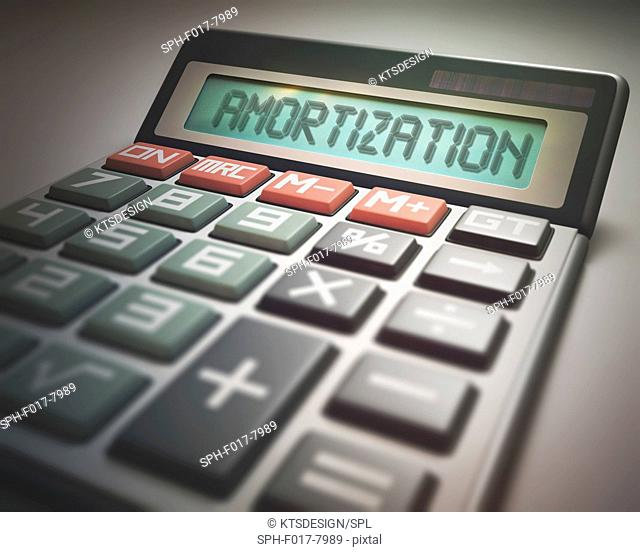 Calculator with the word amortization, illustration