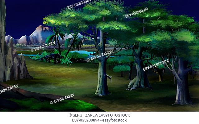 Digital painting of the acacia trees in a African summer night with mountains on background