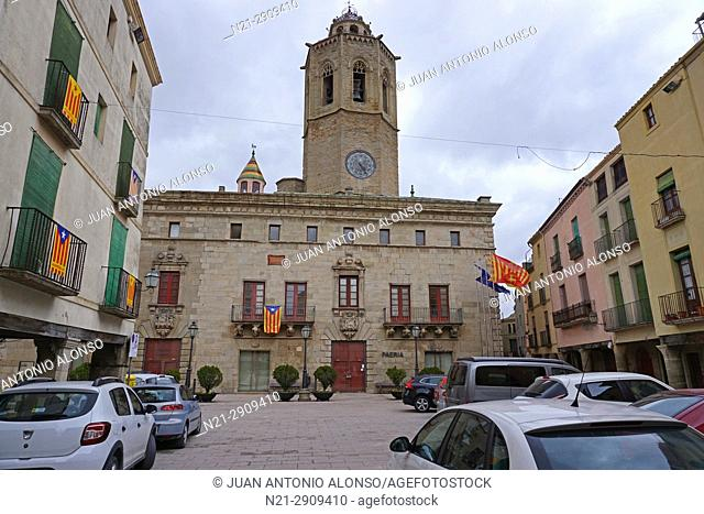 La Paeria building and Town Hall in the Plaça Major -Main Square- . Behind, Santa Maria Church. Cervera, Lleida, Catalonia, Spain, Europe