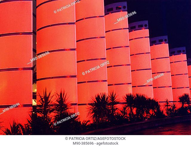 Photo taken at Las Vegas, nocturnal shot of red lighted structures. Shot taken at Las Vegas Boulevard, outside one of the hotels. Las Vegas. Nevada