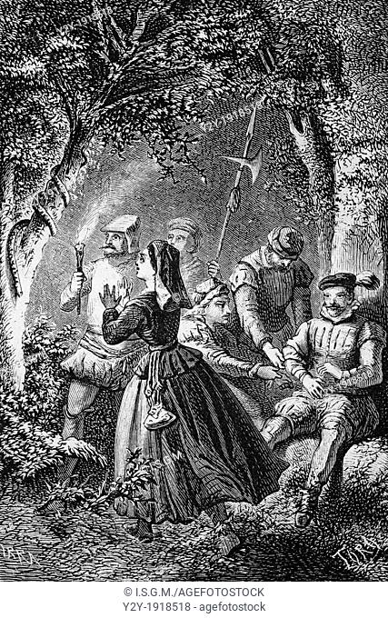 'And with amazement saw the snake lay asleep in the tree' by Man, From 'Hernan Cortes, Descubrimiento y conquista de Mejico', by Lamartine