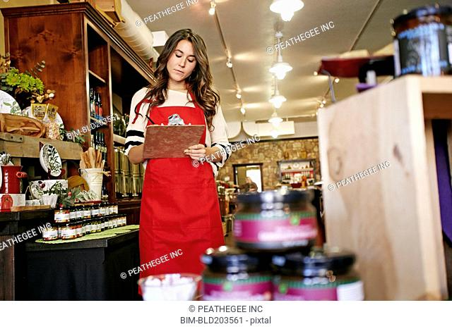 Woman working in grocery store