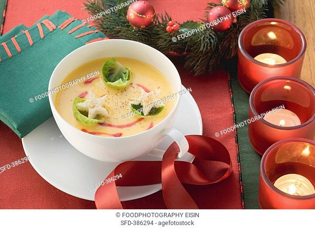 Pumpkin soup with Brussels sprouts for Christmas
