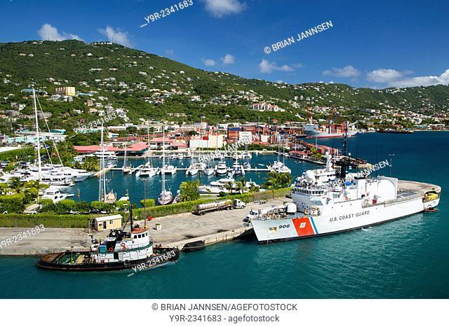 US Coast Guard Ship docked in Charlotte Amalie Harbor, St Thomas, US Virgin Islands