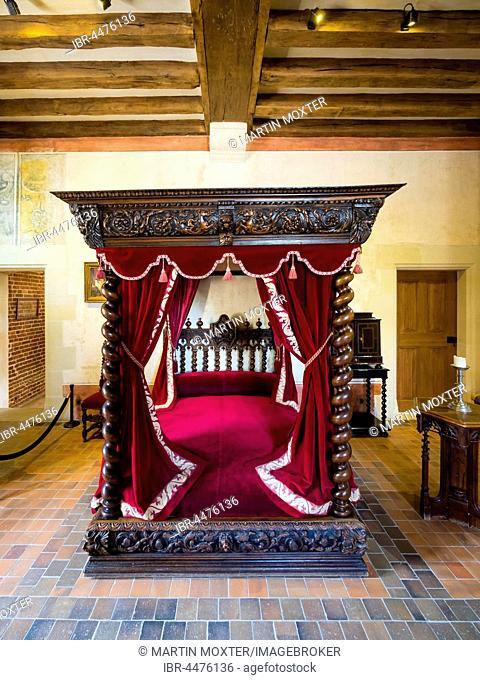 Bedroom, Leonardo da Vinci Museum, Château du Clos Lucé, Amboise, Indre-et-Loire, Loire Valley, Centre, France