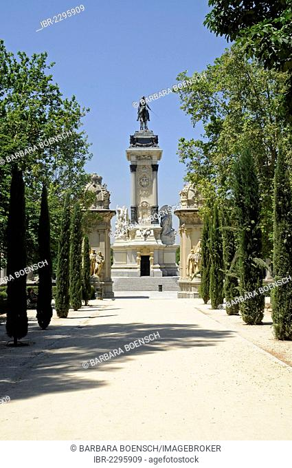 Equestrian statue of King Alfonso XII, tree-lined avenue, Retiro Park, Madrid, Spain, Europe, PublicGround