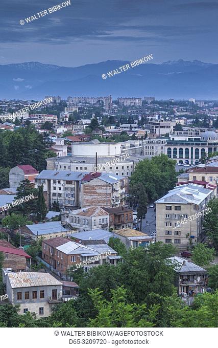 Georgia, Kutaisi, high angle city skyline, dusk