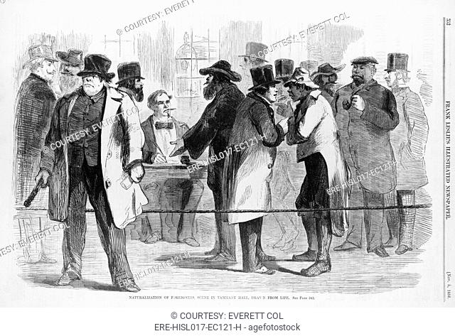 Naturalization of foreigners, scene in Tammany Hall, in New York City before the 1856 elections. In left foreground, a rough looking man with a club in his hand