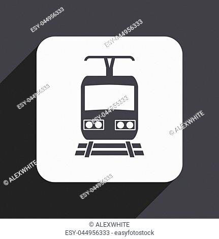 Train flat design web icon isolated on gray background