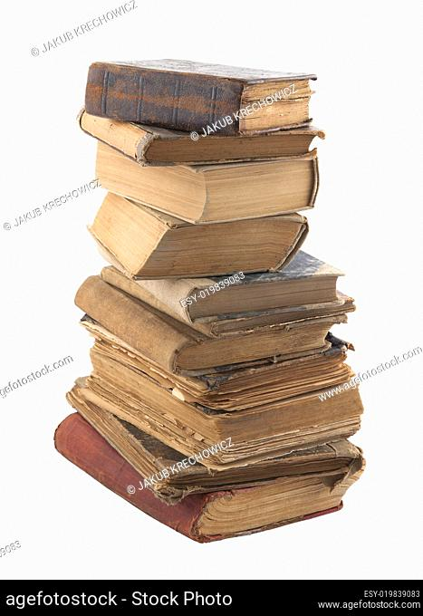 Stack of old books with clipping path