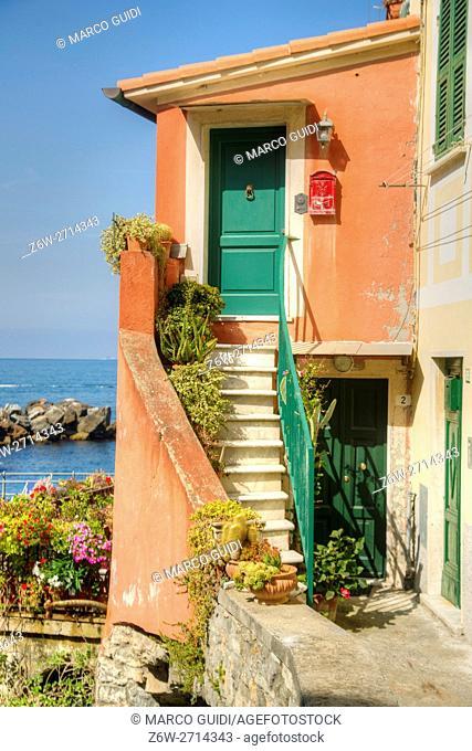 View of the small village of Tellaro Liguria Italy