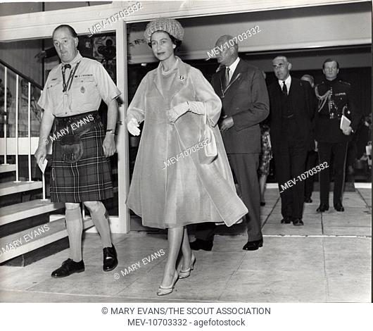 Scene during the official opening of Baden Powell House, South Kensington, London, by Queen Elizabeth II. The building received a number of awards