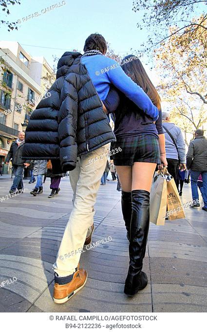 Couple at La Rambla. Barcelona. Catalonia. Spain