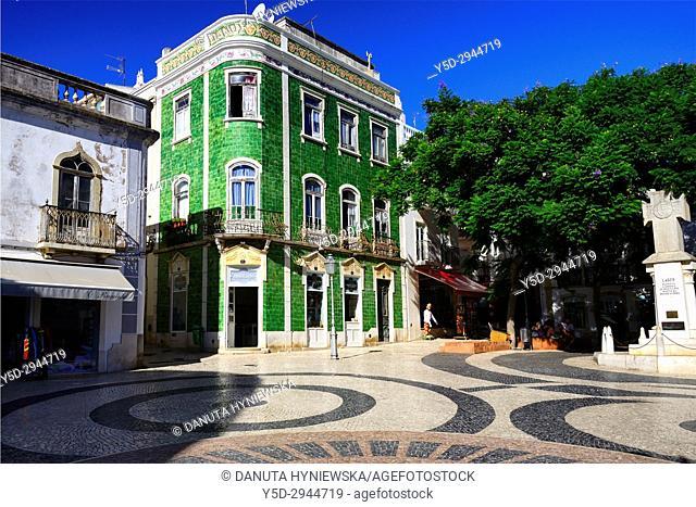 Calçada portuguesa, Praça Luis de Camoes, historic part of Lagos city, Algarve, Portugal, Europe