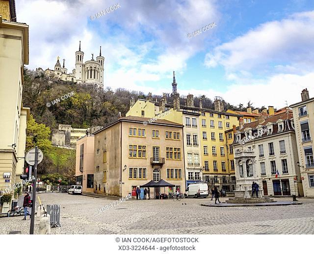 Place Saint Jean with Basilica Notre Dame de Fourviere, Lyon, Auvergne-Rhone-Alps, France