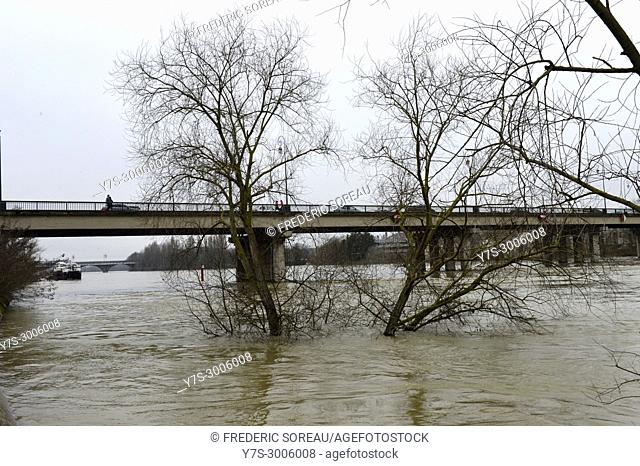 Seine river flood of january 2018 in Sartrouville,Yvelines,France,Europe