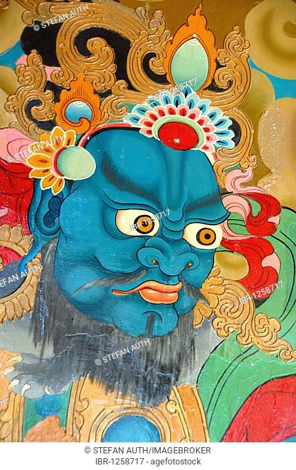 Tibetan Buddhism, wall painting, blue demon, evil eye, Xiawaer temple, Heiwa Dao, on an island in the Lugu Hu Lake, Yunnan Province, People's Republic of China
