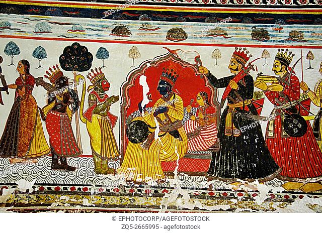 Mythological paintings on the ceiling of Raj Mahal, Orchha Palace (Fort) Complex, where the kings and the queens resided till it was abandoned in 1783