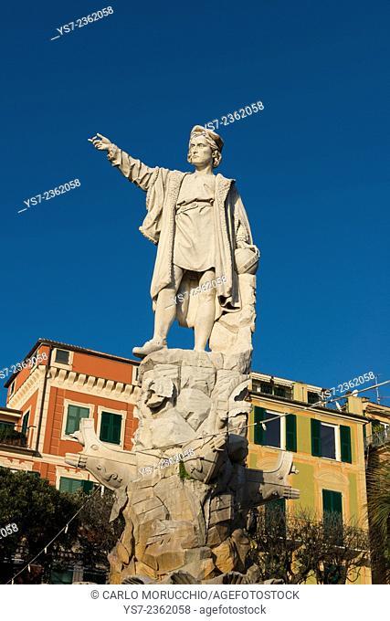 Cristoforo Colombo statue in the Santa Margherita Ligure promenade, Genova, Liguria, Italy, Europe