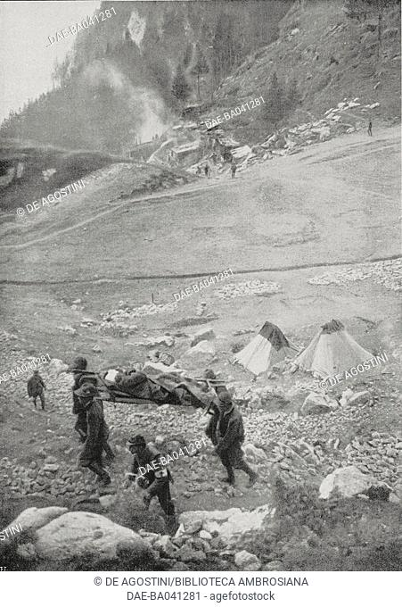 Transport of wounded from the Pal Piccolo, with the outbreak of a grenade in the background, Italy-Austria, World War I, from L'Illustrazione Italiana
