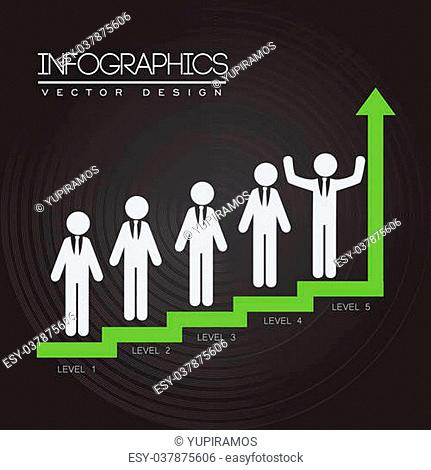 levels infographics over black background vector illustration