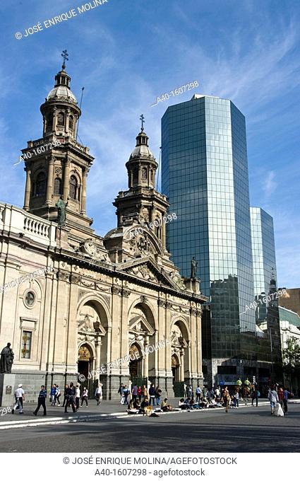 Santiago de Chile. Plaza de Armas and The Metropolitan Cathedral of Santiago (1748-1800). National Monument