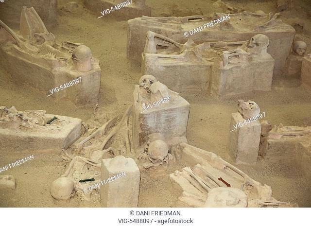 Skeletons at the archeological site at Chorro de Maita, Banes, near Guardalavaca, Holguin Province, Cuba. The skeletons at this archaeological site are from a...