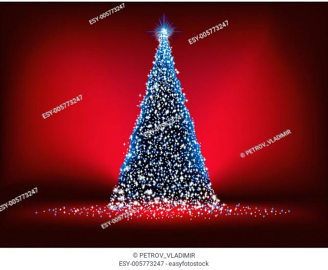 Abstract blue light christmas tree on red. EPS 8