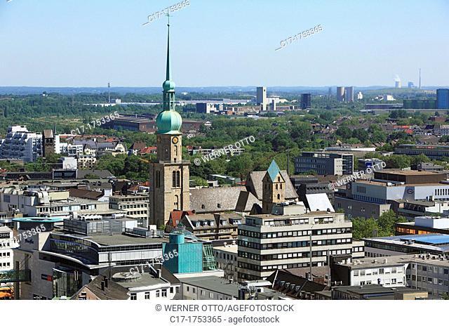 Germany, Dortmund, Ruhr area, Westphalia, North Rhine-Westphalia, NRW, city view, aerial view, St Reinoldi church, Romanesque style, pillar basilica