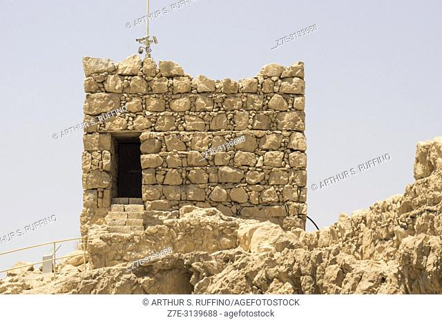 Watch tower. Masada fortress. Masada National Park, Judean Desert, UNESCO World Heritage Site, Israel, Middle East