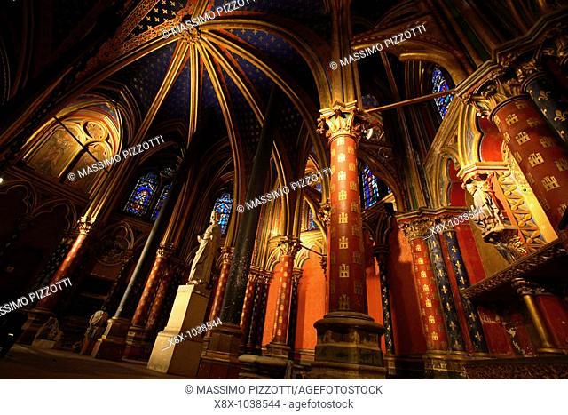 The lower chapel of Sainte Chapelle, Paris, France