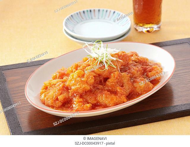 Stir fried prawns in chilli sauce