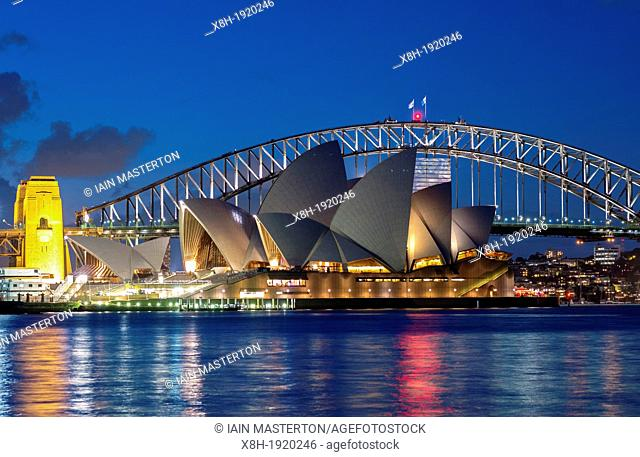 Night view of Sydney Opera House and Harbour Bridge in Sydney Australia