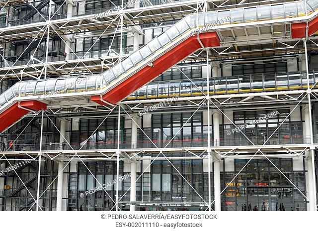 Exterior view of the famous Pompidou Center during the celebration of the centenary of the French politician Georges Pompidou This museum is dedicated to the...