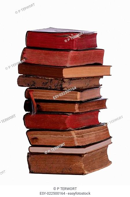 stack of books with aged pages