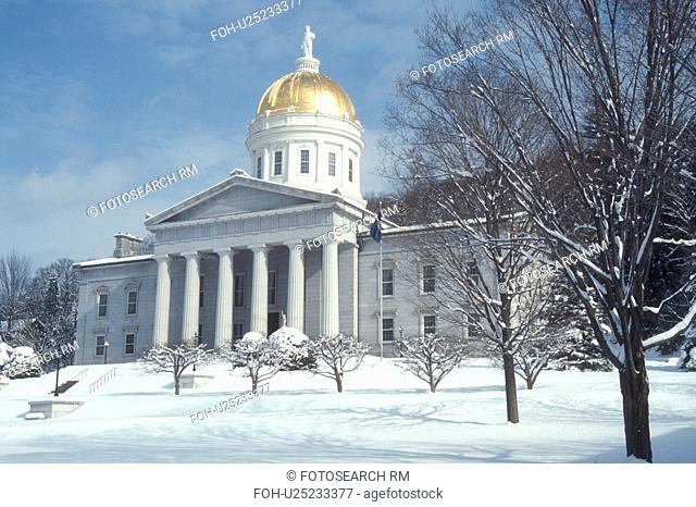 State Capitol, State House, winter, Montpelier, Vermont, VT, State House in the snow in Montpelier in winter