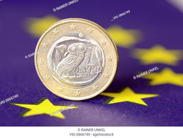 GERMANY, BONN, GERMANY : A greek Euro on a flag of EU / Greece - Bonn, Northrhine-, Germany, 08/08/2013