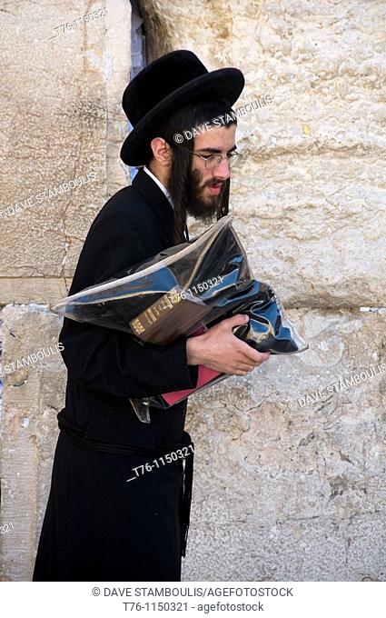 Hassidic Jew in prayer at the Western Wall in Jerusalem