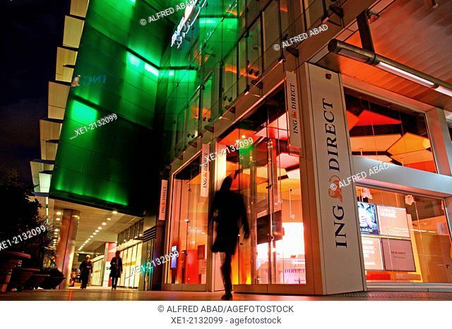Department store and bank at night, Francesc Macia square, Barcelona, Catalonia, Spain