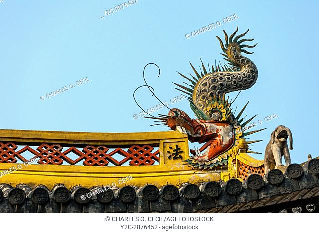 Wenzhou, China. Dragon Detail on the Jiangxin Buddhist Temple