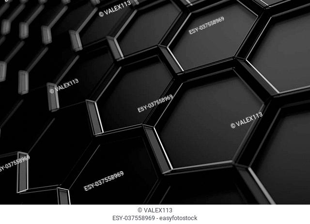 Abstract 3d rendering of futuristic surface with hexagons. Sci-fi background